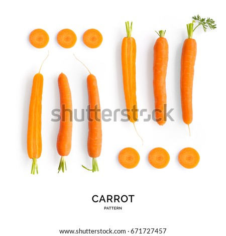Seamless pattern with carrot. Vegetables abstract background. Carrot on the white background. #671727457