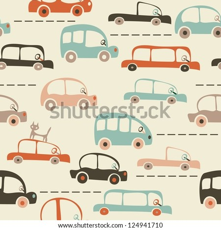 seamless pattern with cars in retro colors
