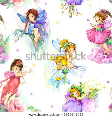 Seamless pattern with cartoon fairy