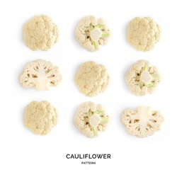 Seamless pattern with cauliflower. Vegetables abstract background. Cauliflower on the white background.
