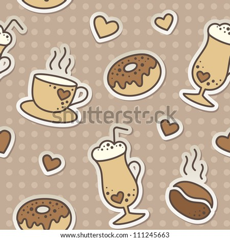 seamless pattern with coffee beans, cups and donuts
