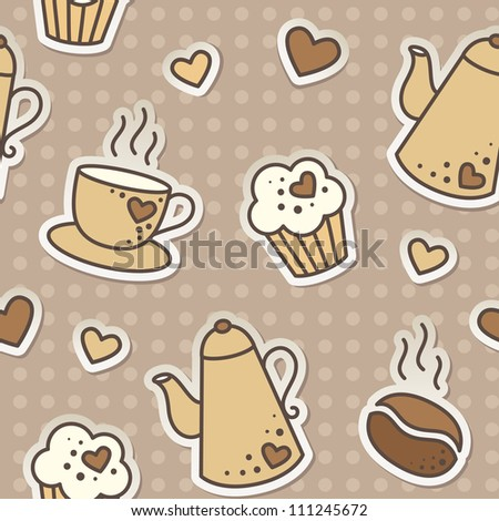 seamless pattern with coffee beans, cups, cupcakes and kettles