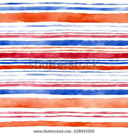 Seamless pattern with colorful stripes. Watercolor background.