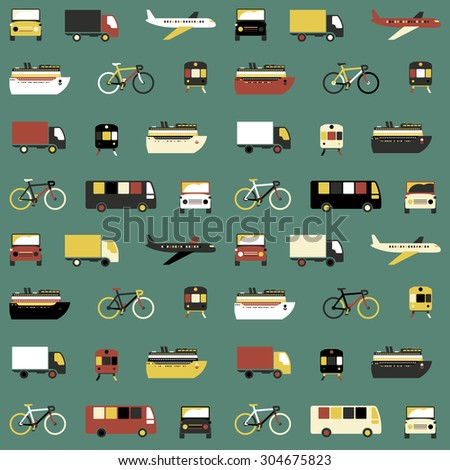 Seamless pattern with colorful transport icons on green background. Raster version