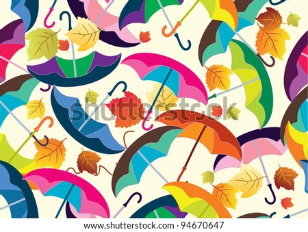 seamless pattern with colorful umbrellas, beautiful illustration