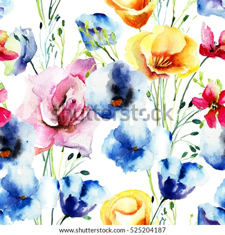 Seamless pattern with Colorful wild flowers, watercolor illustration
