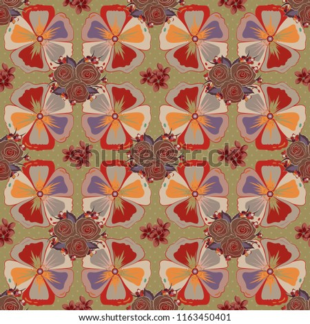 Seamless pattern with cosmos flowers. Graphic modern pattern. Geometric leaf ornament. Cute background. Seamless abstract floral pattern in beige, red and brown colors. #1163450401