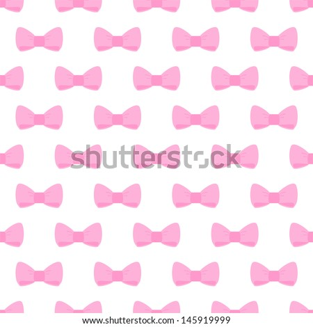 Seamless Pattern With Cute Pastel Baby Pink Bows On White ...