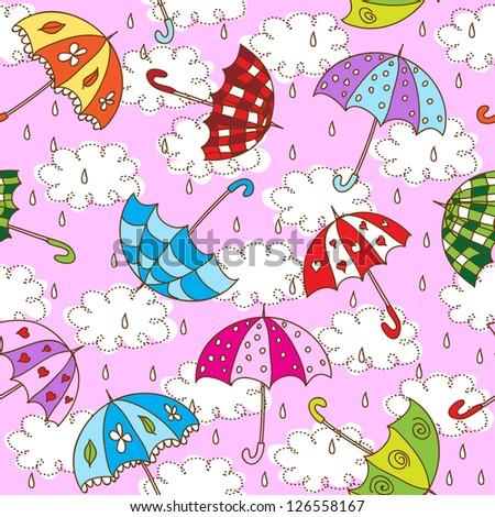 Seamless pattern with cute umbrellas. Raster version. Vector is also available in my gallery