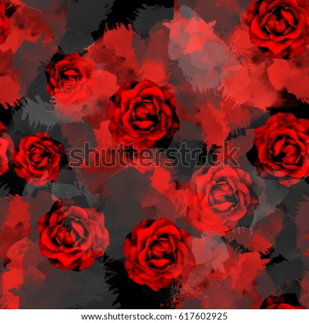 Seamless pattern with dark roses. Floral background with watercolor effect. Textile print for bed linen, jacket, package design, fabric and fashion concepts.