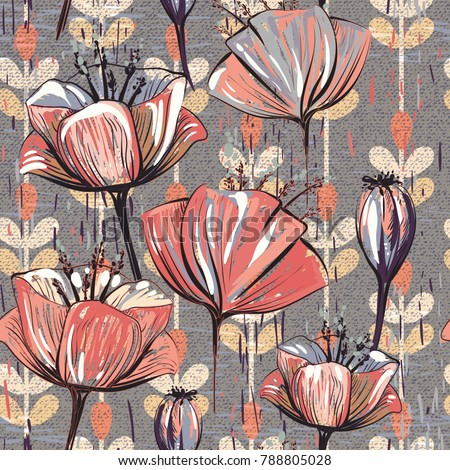Seamless pattern with decorative flowers, vintage style
