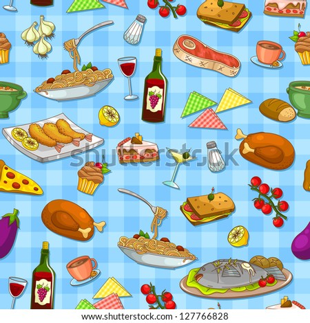 seamless pattern with delicious food (vector available in my gallery)