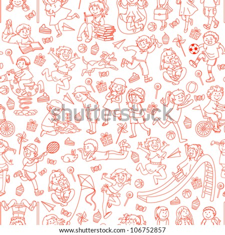seamless pattern with doodles of children (vector version in available in my gallery)