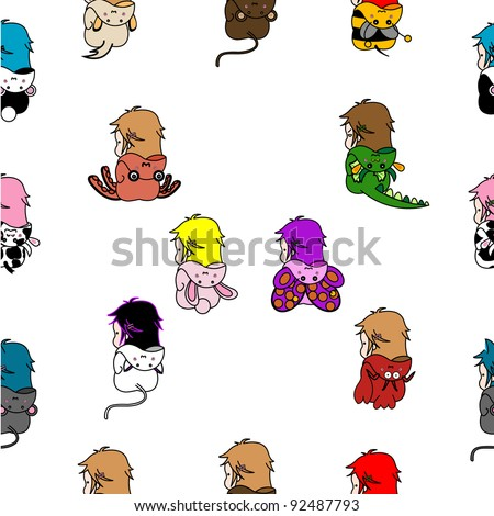 Seamless pattern with doodles of kids dressed up in animal costumes