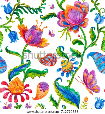 Seamless pattern with fantasy whimsical flowers, natural wallpaper, floral, flores, butterfly illustration. Millefleurs design. Paisley print watercolor indian hand drawn isolated objects on white.