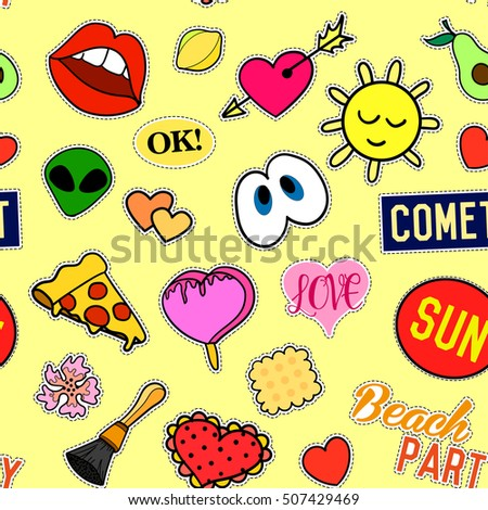 Seamless pattern with Fashion patches. stickers, pins, patches and handwritten notes collection in cartoon 80s-90s comic style. Trend.  illustration.  clip art. Rasterized Copy