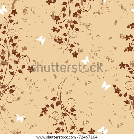 Seamless pattern with flowers and butterflies on grunge background. Similar image in Vector format  in my portfolio. - stock photo