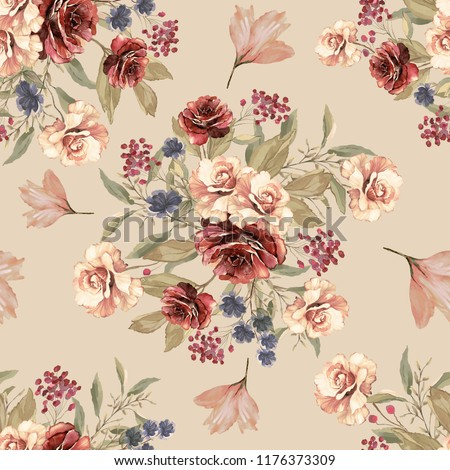 Seamless pattern with flowers and leaves. Floral pattern for Wallpaper, paper and fabric. Watercolor hand drawing.  Bordeaux roses .