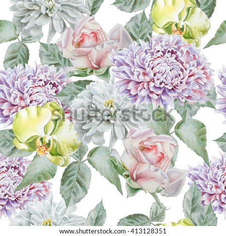 Seamless pattern with flowers. Rose.  Chrysanthemum. Orchid.  Watercolor.  Hand drawn. #413128351