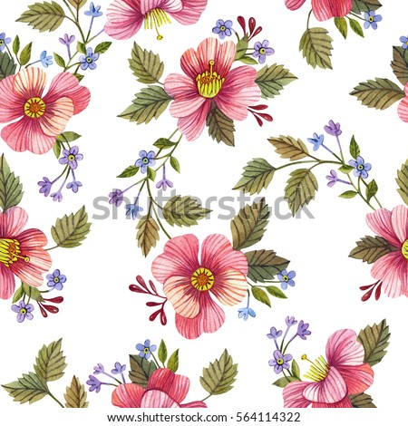 Seamless pattern with flowers. Watercolor hand drawn illustration. Floral background.