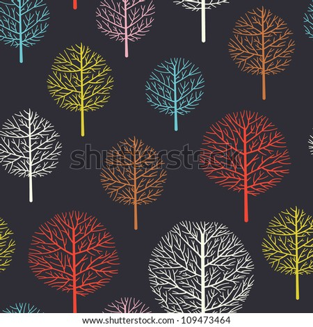 Seamless pattern with forest