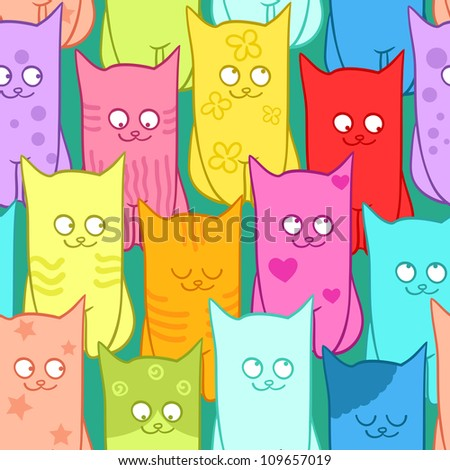 Seamless pattern with funny cats color