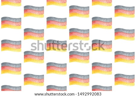 Seamless pattern with German flag for oktoberfest. Hand drawn watercolour painting on white background clip art graphic elements for creative design and printable decor.