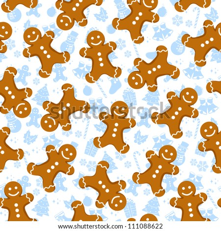 seamless pattern with gingerbread men and Christmas icons (vector available in my gallery)
