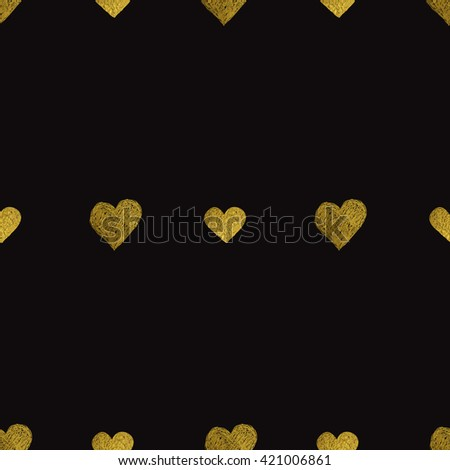Seamless pattern with gold foil hearts on black background. #421006861