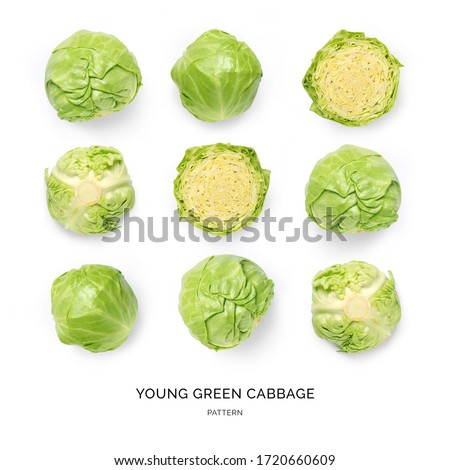 Seamless pattern with green cabbage on the white background.. Flat lay. Food concept.   Сток-фото ©