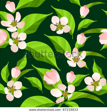Seamless pattern with green leaves and white flowers