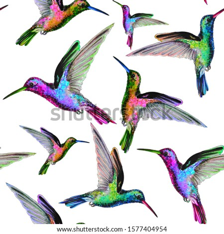 Seamless pattern with hand drawing hummingbirds.Colorful animalistic repeated texture with cute birds. Repeatable background for fabric, prints,bedding and textile.