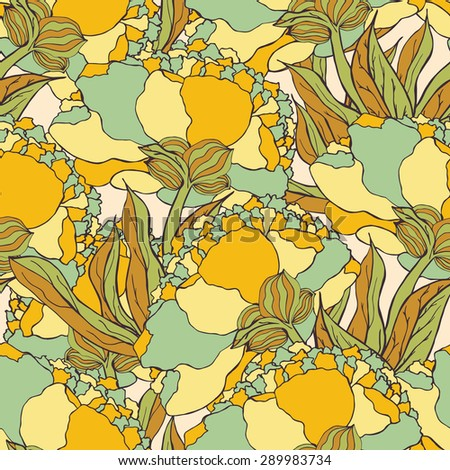 Seamless pattern with hand drawn doodle flowers. Hand drawn design for fabric, wrapping paper, greeting cards or invitation.