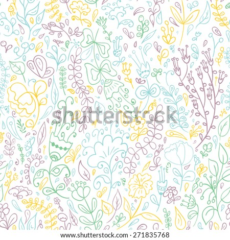 Seamless pattern with hand drawn doodle flowers . Hand drawn design for Thank you card, Greeting card or Invitation.