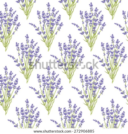 Seamless pattern with hand drawn lavender flowers . Hand drawn design for Thank you card, Greeting card or Invitation, wrapping paper or wallpaper.