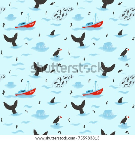 Seamless pattern with hand drawn sea and ocean. Raster image. Great for backdrops, wallpapers, fabric, digital paper.