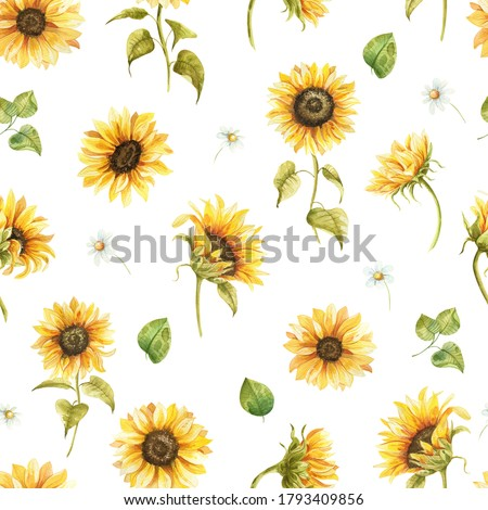 seamless pattern with hand drawn watercolor sunflowers Foto stock ©