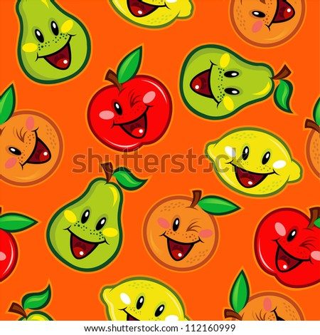 Seamless Pattern with Happy Fruits Characters