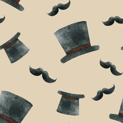 Seamless pattern with hat and mustache, male