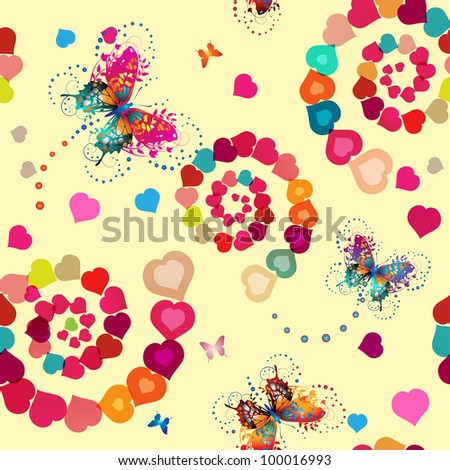 Seamless pattern with hearts and butterflies for Valentine's day