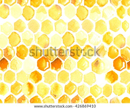 Seamless pattern with honeycomb painted in watercolor on white isolated background