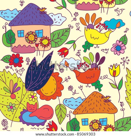 Seamless pattern with houses, flowers, birds