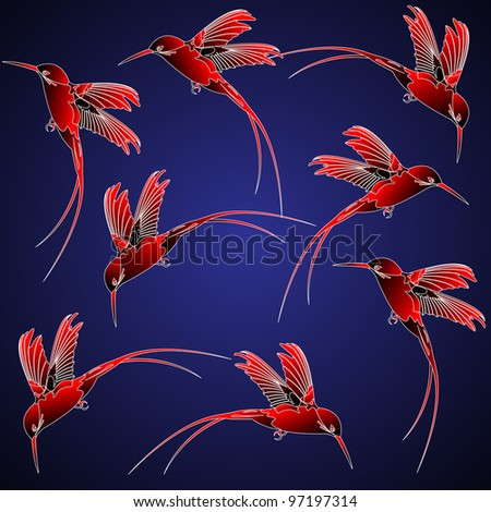 Seamless pattern with hummingbird in chinese style
