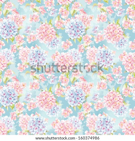 Seamless Pattern With Hydrangea Flowers. Watercolor Illustration.