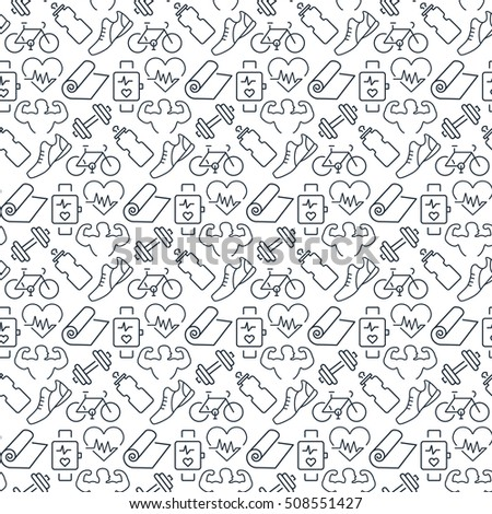 Seamless pattern with icons of fitness items.