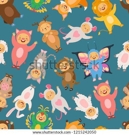 Seamless pattern with illustrations of kids in carnival costumes. Child in costume animal, background girl and boy