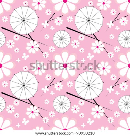 seamless pattern with jaran parasol and flowers