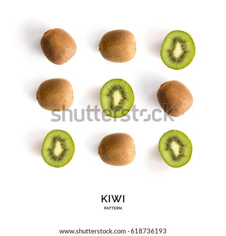 Seamless pattern with kiwi. Tropical abstract background. Kiwi fruit on the white background.
