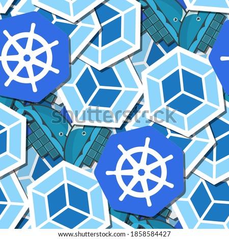 Seamless pattern with Kubernetes, Docker, Webpack. The three useful programming technologies.