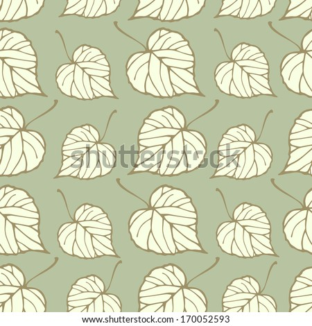 Seamless pattern with linden leaves. Endless texture for web, print, wallpaper, home decor, textile, invitation or website background
